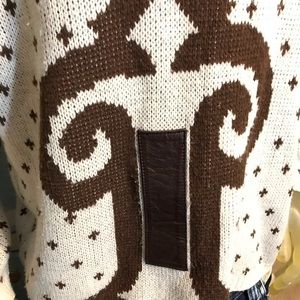 Vintage Sweaters - Vintage Mark Elliot Sweater With Leather Strips M